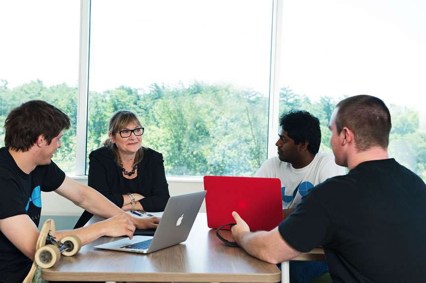 1125@Carleton's Executive Director Mary Herbert-Copley works with a group from GestureLogic