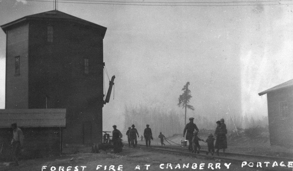 Historical photo of a Forest Fire at Cranberry Portage, 1929