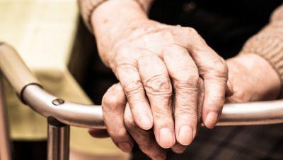 Elderly hands on a walker, Healthcare And Medicine, Senior Women