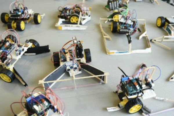 A group of robotic cars